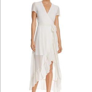WAYF Ruffle Short Sleeve Wrap Dress